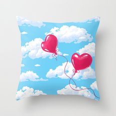 Two heart shaped red balloons Throw Pillow