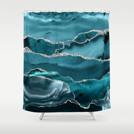 Glamour Turquoise Blue Bohemian Watercolor Marble With Silver Glitter Veins Shower Curtain
