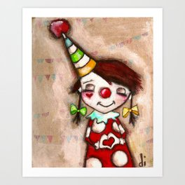Funny Valentine - Colorful Clown with heart Art Print