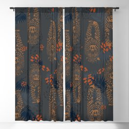 Midnight Leopard - Navy and orange Leopard and Palm pattern Blackout Curtain