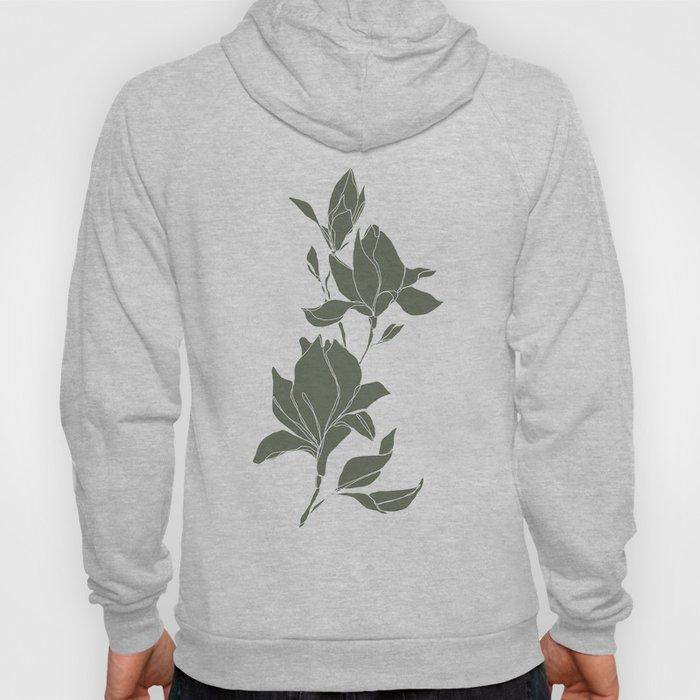 Botanical illustration line drawing - Magnolia Green Hoody