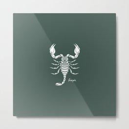 Scorpio White on Dark Green Background Metal Print