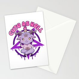 Cute As Hell I Anime Pastel Grunge Kawaii Baphomet design Stationery Cards