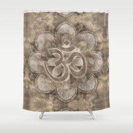 Om Symbol Lotus flower Vintage gold Shower Curtain