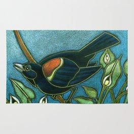 Redwing Blackbird with Water Arum Rug