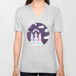 Dreamy Cute Space Castle Unisex V-Neck