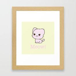 Pastel Kitten Kawaii Framed Art Print