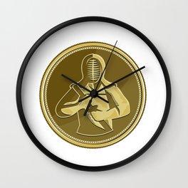 Kendo Swordsman Gold Medal Retro Wall Clock