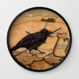 Crow and Pitcher from Aesop's Fables - Necessity is the mother of invention Wall Clock