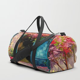 Flower-filled patio Duffle Bag
