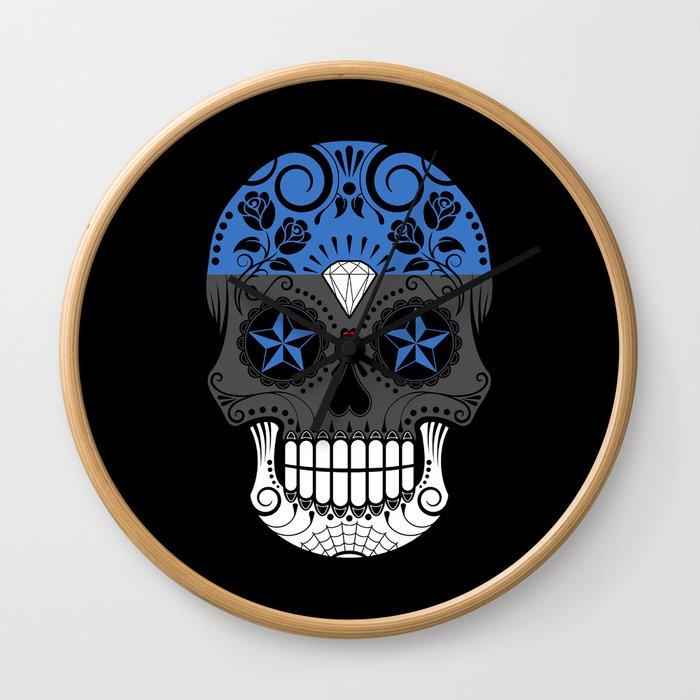 Sugar Skull with Roses and Flag of Estonia Wall Clock