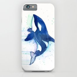Killer Whale Orca Watercolor iPhone Case