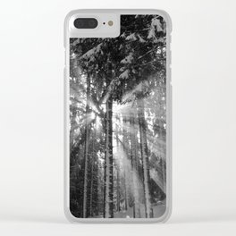 Black and White Winter Wonderland Clear iPhone Case