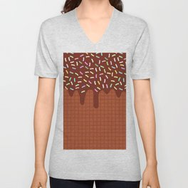 chocolate waffles with flowing chocolate sauce and sprinkles Unisex V-Neck