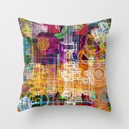 Grunge tech print Throw Pillow