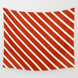 Burnt Sienna Diagonal Stripes Wall Tapestry