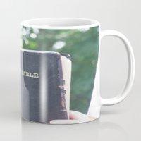 bible verses Mugs featuring Holy Bible w/ bokeh by Hannah Chapman