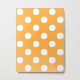 Large Polka Dots - White on Pastel Orange Metal Print