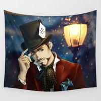 mad hatter Wall Tapestries featuring THE MAD HATTER by FISHNONES