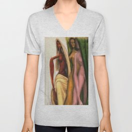 African American Masterpiece 'The Odd Sister - The Other Girl in the Mirror' by Sam Brown Unisex V-Neck