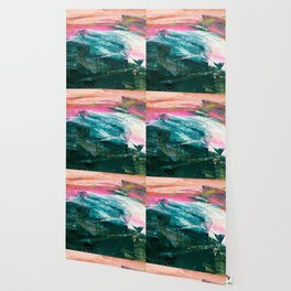 Meditate [4]: a vibrant, colorful abstract piece in bright green, teal, pink, orange, and white Wallpaper