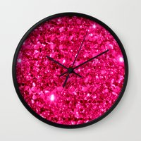 sparkle Wall Clocks featuring SparklE Hot Pink by 2sweet4words Designs