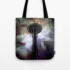 Space Needle - Seattle Stars and Clouds at Night Tote Bag