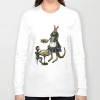 cafe Long Sleeve T-shirts featuring Kangaroo cafe by Anna Shell