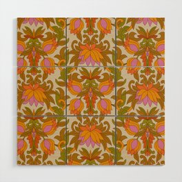 Orange, Pink Flowers and Green Leaves 1960s Retro Vintage Pattern Wood Wall Art