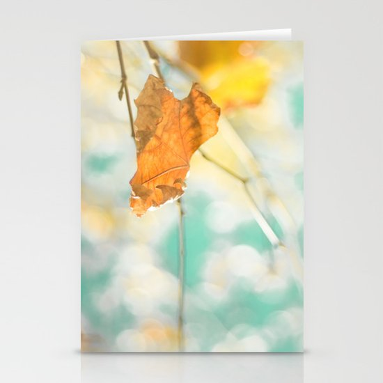 Gold Autumn Fall Leafs on Dreamy Blue Turquoise Vintage Retro Sky  Stationery Cards