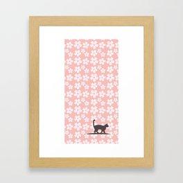 Sakura&Cat Framed Art Print