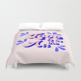Love in pink - typography Duvet Cover