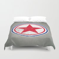 korea Duvet Covers featuring North Korea cocarde by Nxolab