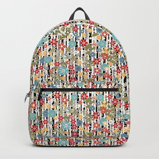 Floral pattern on striped background Backpack