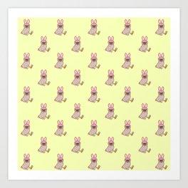 Pug dog in a rabbit costume pattern Art Print