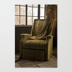 Abandoned Green Nunnery Chair Canvas Print