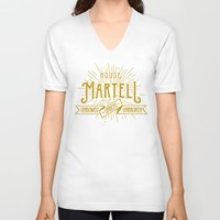 martell V-neck T-shirts featuring House Martell Typography by P3RF3KT