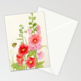 Watercolor Flower Pink Hollyhock and Bee Stationery Cards