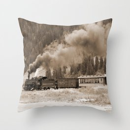 Steam Hauled Train - Engine 486 Throw Pillow