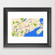 Map of Maine state, USA Framed Art Print