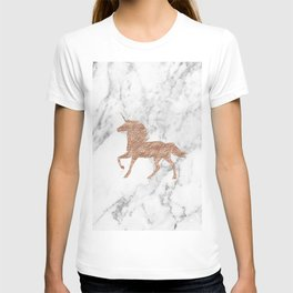 Rose gold unicorn on marble T-shirt