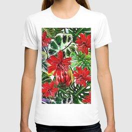 Exotic Passiflora Flowers Jungle Aloha Pattern T-shirt
