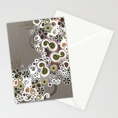 Diagonal flower – brown and olive green fiber Stationery Cards