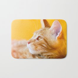 Red-white tabby Maine Coon cat Bath Mat