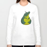 pear Long Sleeve T-shirts featuring Alligator Pear by Chris Piascik