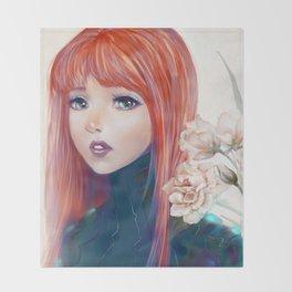 Captain Goldfish - Anime sci-fi girl with red hair portrait Throw Blanket