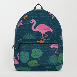 Bohemian nonchalance tropical flamingo pattern on dark background Backpack