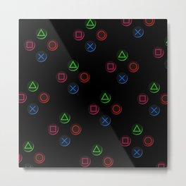 PS4 controller buttons neon aesthetics Metal Print