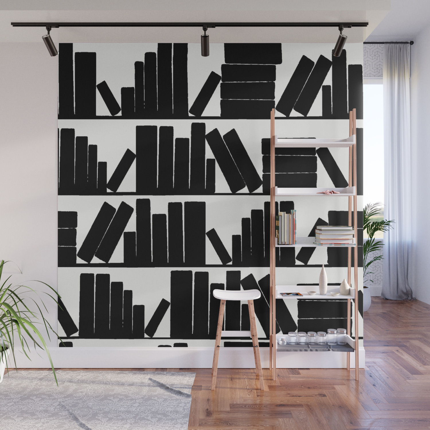 Library Book Shelves Black And White Wall Mural