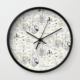 Chinoiserie pattern with dragons, bats, pagodas Wall Clock